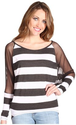 Brigitte Bailey Cecile Stripe Sheer Top (Grey/White) - Apparel