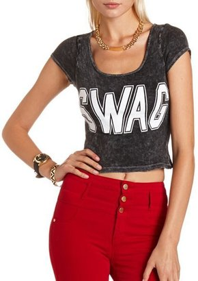 "Charlotte Russe Mineral Wash ""SWAG"" Crop Top"