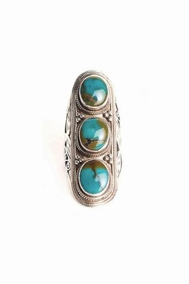 Soixante Neuf Turquoise Tri-Stone Shield Ring in Sterling Silver