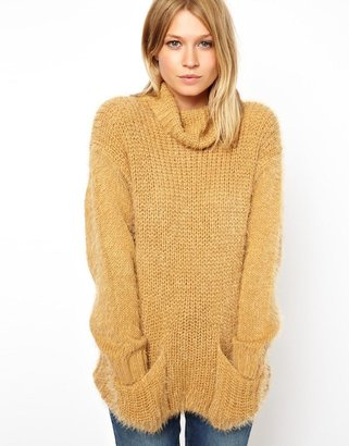 Asos Jumper With Cowl Neck In Fluffy Yarn