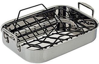 "Le Creuset 14.5"" Tri-Ply Stainless Steel Roasting Pan + Rack"