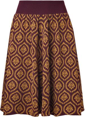 Sophie Theallet Chocolate/Gold Fine Knit Jacquard Silk Skirt