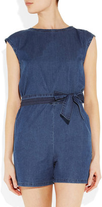 A.P.C. Washed-denim playsuit