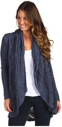 Autumn Cashmere Tweed Pointelle Oversize Drape (Galaxy Blue) - Apparel