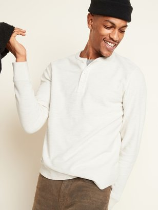 Old Navy Textured-Knit Woven-Trim Long-Sleeve Henley Tee for Men