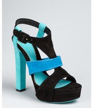 Gucci turquoise colorblock suede 'Andie' platform sandals