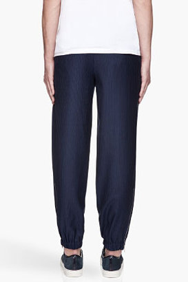 Alexander McQueen Navy blue pinstriped zip-cuff lounge pants