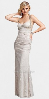 Mignon Nude Lace Cutout Evening Dresses