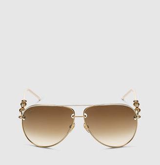 Gucci White Aviator Sunglasses