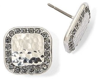 Monet Silver-Tone & Black Stone Stud Earrings