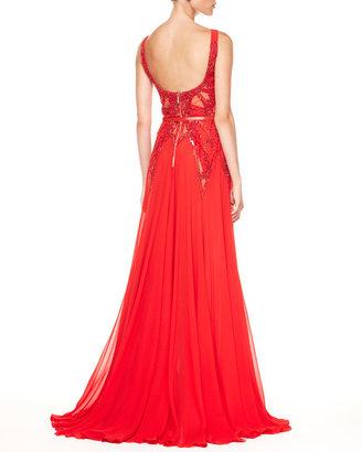 Elie Saab Beaded-Top Belted Bias-Cut Gown