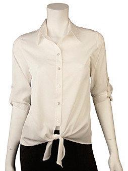 Amy Byer A Byer A. Byer Juniors' Roll Sleeve Tie Front Shirt