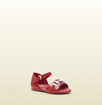 Gucci Watermelon Patent Leather Sandal With White Horsebit
