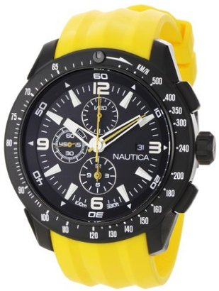 Nautica Men's N18599G NST 101 Yellow Resin and Black Dial Watch