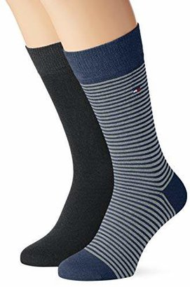Tommy Hilfiger Th Men Small Stripe Sock 2P Pack of 2, (Tommy Blue 054)