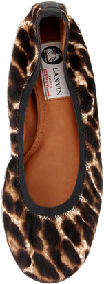 Lanvin Leopard-Print Calf Hair Ballerina Flat