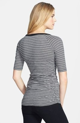 Caslon Elbow Sleeve Side Ruched Tee (Petite)