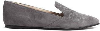 Just Ballerinas Grey Suede Embossed Loafers