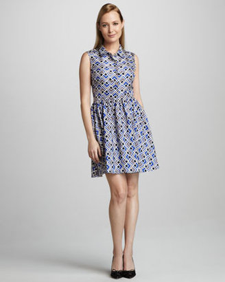 Kate Spade Lora Deco-Print Sleeveless Shirtdress