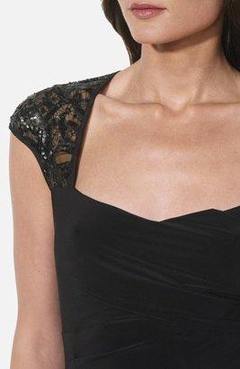 Lauren Ralph Lauren Sequin Lace Sleeve Jersey Gown