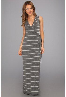 Calvin Klein Striped Wrap Dress (Charcoal/Tin) - Apparel