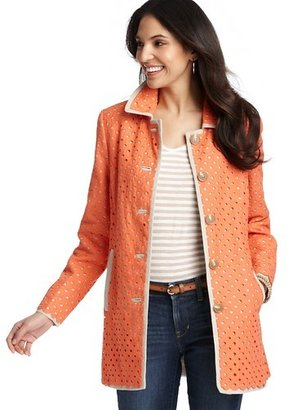 LOFT Petite Piped Cotton Eyelet Trench