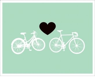 Hybrid-Home Limited Edition Print Bike Love - Light Green