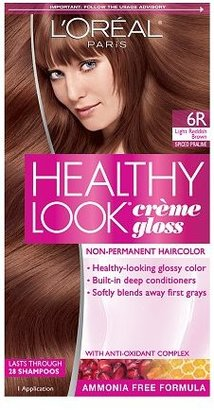 L'Oreal Healthy Look Creme Gloss Hair Color Light Reddish Brown Spiced Praline 6R