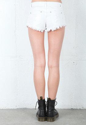 Reverse Tribal Short in White