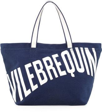 Vilebrequin Men's Logo Canvas Tote Bag, Navy