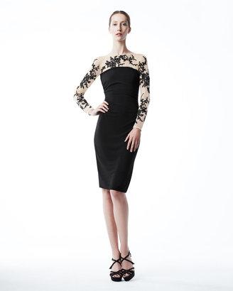 David Meister Illusion-Lace Cocktail Dress