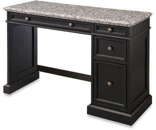 Bed Bath & Beyond Home Styles Traditions Black Utility Desk w/Salt & Pepper Granite Top