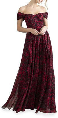 Shoshanna Anais Arbor Vines Off-the-Shoulder Dress