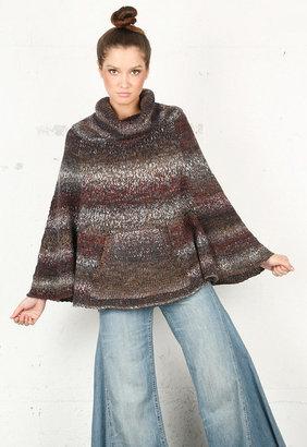 Splendid Chunky Cowl Neck Sweater in Burgundy Ombre -