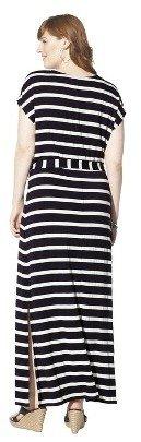 Women's Plus Size Short Sleeve V Neck Maxi Dress Black/Cream