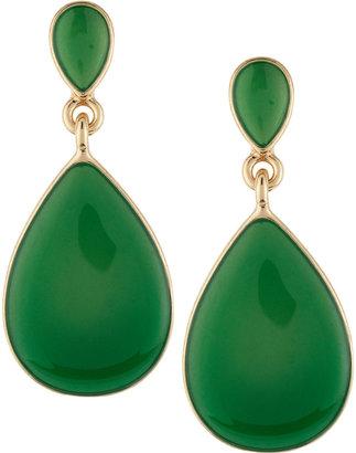 Kenneth Jay Lane Green Teardrop Enamel Earrings
