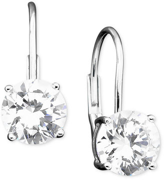 Crislu Earrings, Platinum Over Sterling Silver Cubic Zirconia Leverback Earrings (2 ct. t.w.)