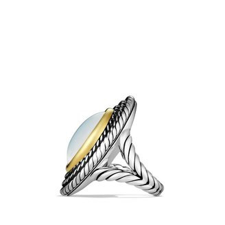David Yurman Cable Coil Ring with Moon Quartz and Gold
