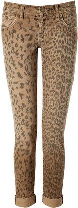 Current/Elliott Camel Leopard Print Rolled Cuff Skinny Ankle Corduroys