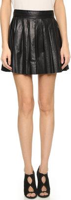 alice + olivia Box Pleat Leather Skirt $495 thestylecure.com