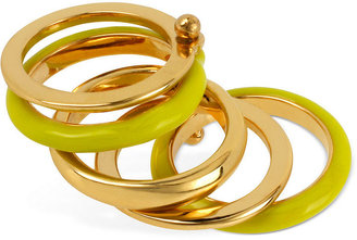 Kenneth Cole New York Ring, Gold-Tone Lime Green Stacked Ring