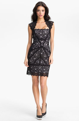 Nicole Miller Lace Fitted Cap Sleeve Lace Sheath Dress