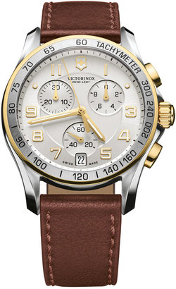 Victorinox Swiss Army Watch, Men's Chronograph Classic Brown Leather Strap 41mm 241510 $575 thestylecure.com