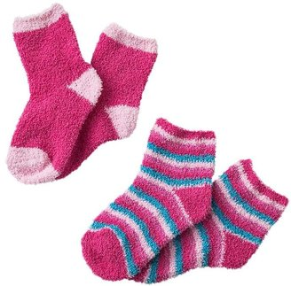 Pink Cookie solid and stripe 2-pk. cozy socks - girls