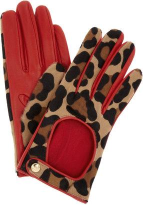 Agent Provocateur Leopard-print calf hair driving gloves