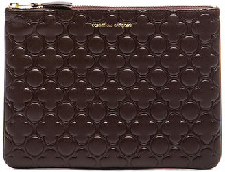 Comme des Garcons Clover Embossed Pouch in Brown | FWRD