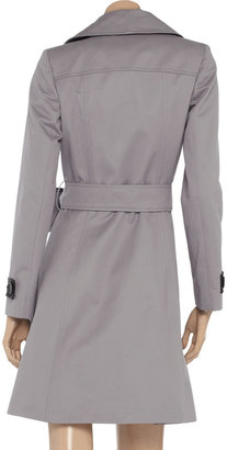 Helene Berman Faux leather-trimmed cotton-twill trench coat