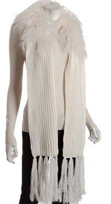 MICHAEL Michael Kors cream cable knit Mongolian fur fringe scarf