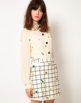 Nishe Star Embroidered Shirt with Check Collar