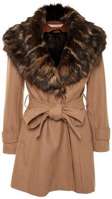 A/Wear Camel Fur Collar Wrap Coat